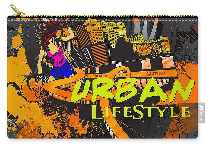 Vector Abstract Carry-all Pouch featuring the digital art Urban Lifestyle by Don Kuing