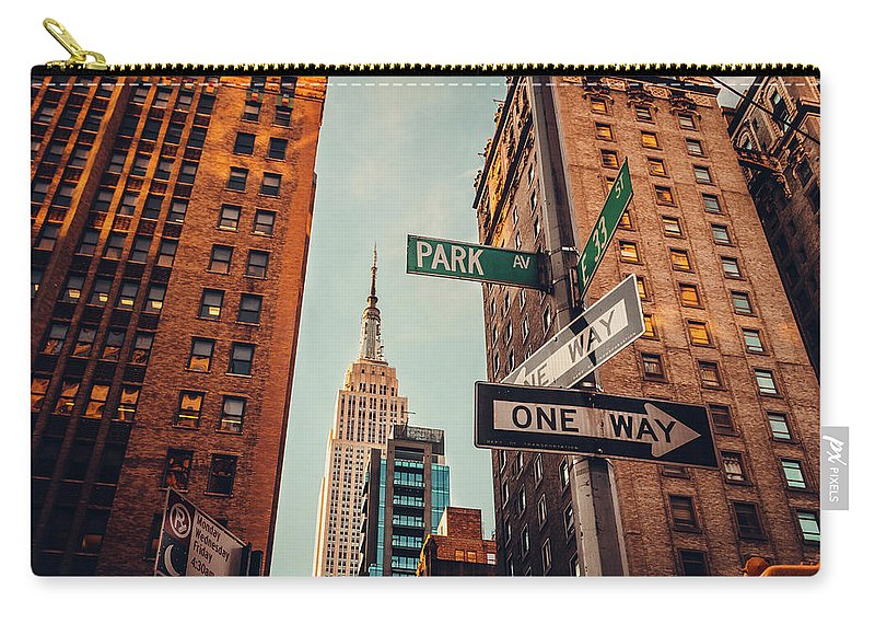 Shadow Carry-all Pouch featuring the photograph Urban Skyline In Midtown Manhattan With by Kolderal