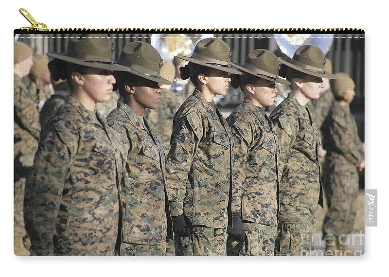 Anniversary Carry-all Pouch featuring the photograph U.s. Marine Corps Female Drill by Stocktrek Images