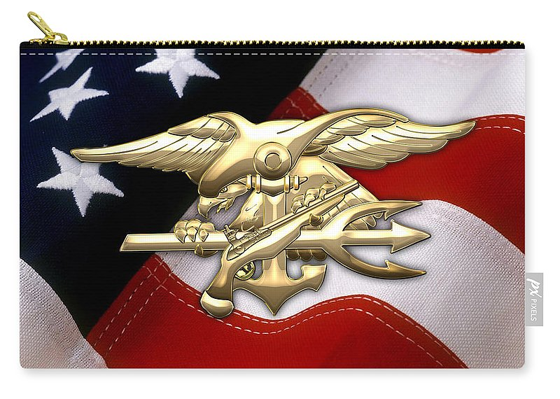 'military Insignia & Heraldry 3d' Collection By Serge Averbukh Carry-all Pouch featuring the digital art U. S. Navy S E A Ls Emblem Over American Flag by Serge Averbukh