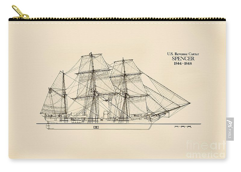 U.s. Revenue Service Carry-all Pouch featuring the drawing U. S. Revenue Cutter Spencer by Jerry McElroy