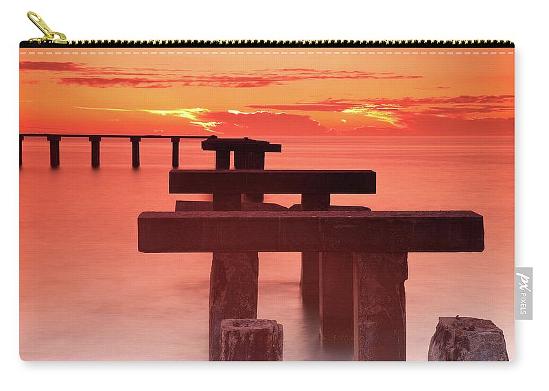 Tranquility Carry-all Pouch featuring the photograph Usa, Florida, Boca Grande, Ruined Pier by Henryk Sadura