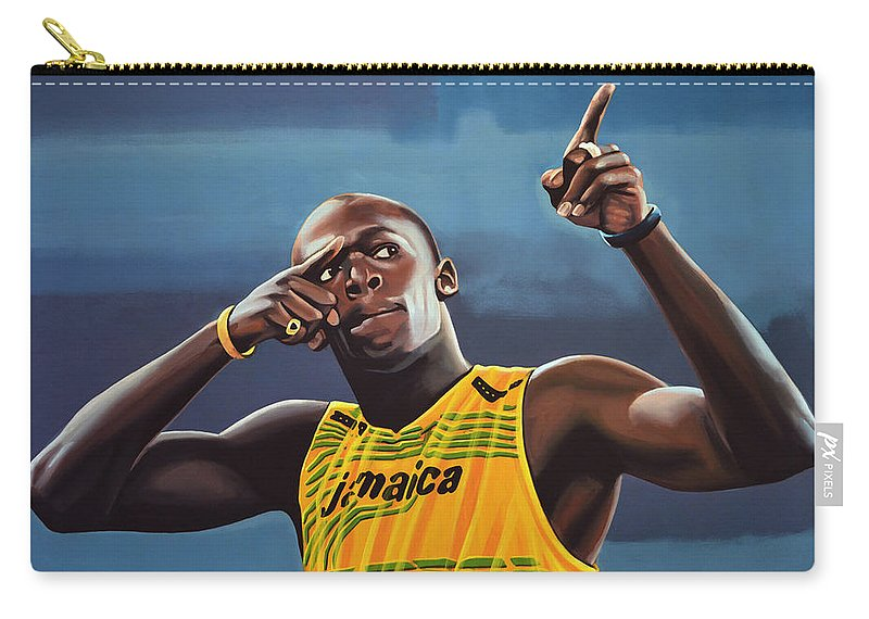 Usain Bolt Carry-all Pouch featuring the painting Usain Bolt Painting by Paul Meijering