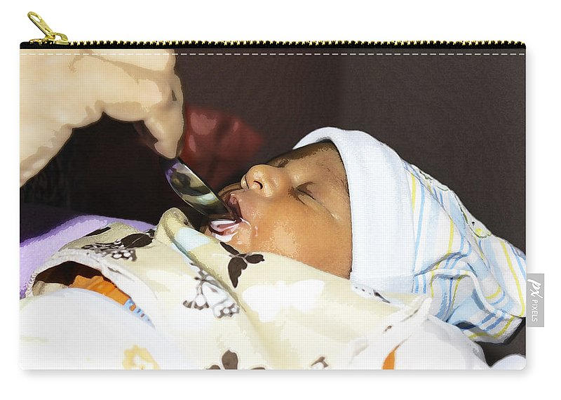 4 Day Old Baby Carry-all Pouch featuring the photograph Using A Spoon To Feed A 4 Day Old Indian Baby Boy With Milk by Ashish Agarwal