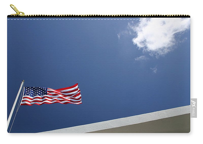Flag Carry-all Pouch featuring the photograph Uss Arizona Memorial Flag by Guy Shultz