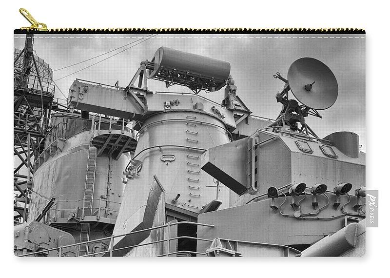 Uss Arizona Memorial Carry-all Pouch featuring the photograph Uss Missouri- Radar System by Douglas Barnard
