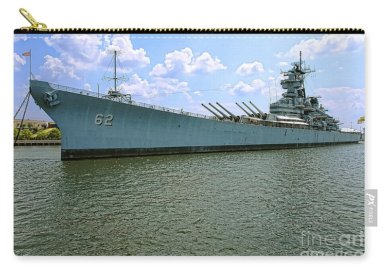 Uss New Jersey Carry-all Pouch featuring the photograph Uss New Jersey by Olivier Le Queinec