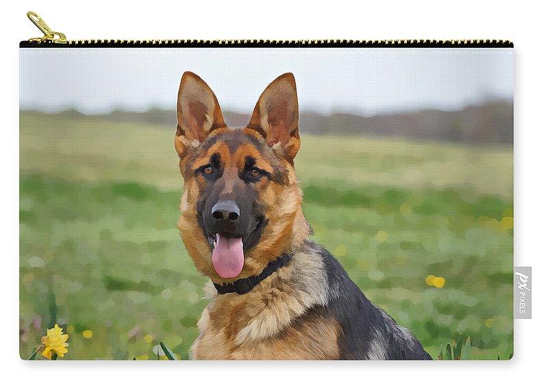 German Shepherd Carry-all Pouch featuring the photograph Uzara IIi by Sandy Keeton