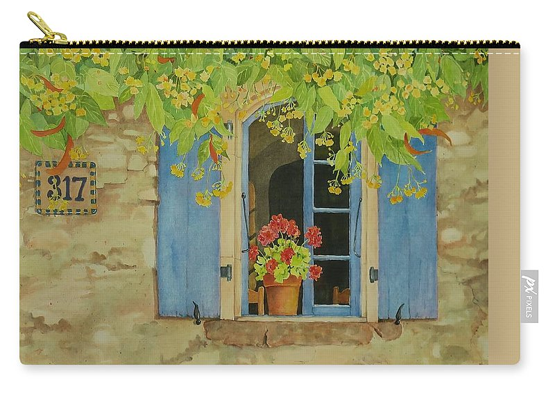 France Carry-all Pouch featuring the painting Vacation Memory by Mary Ellen Mueller Legault