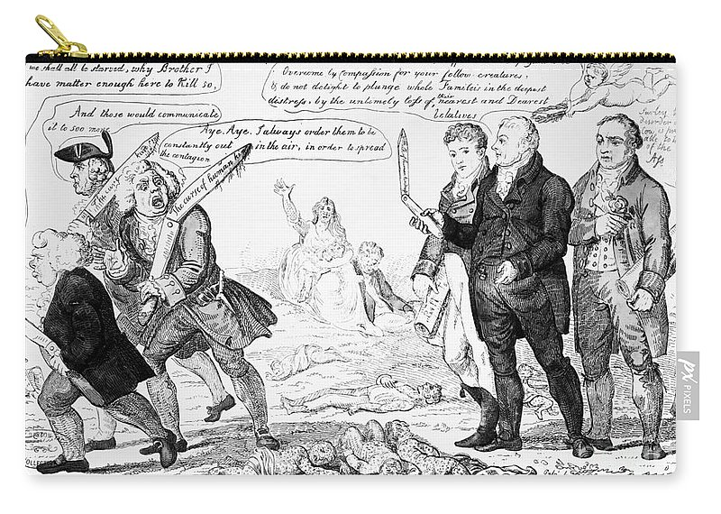 1808 Carry-all Pouch featuring the photograph Vaccination Cartoon, 1808 by Granger