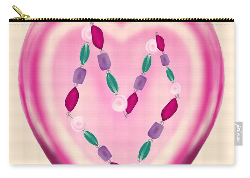 Greeting Card Carry-all Pouch featuring the digital art Valentine Gem by Christine Fournier