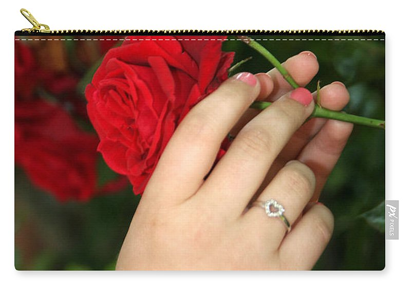 Red Rose Carry-all Pouch featuring the photograph Valentine Rose by Diana Haronis