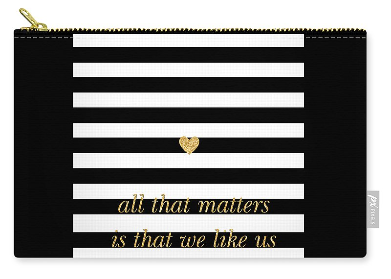 Valentine's Carry-all Pouch featuring the digital art Valentine's Stripe II by South Social Studio