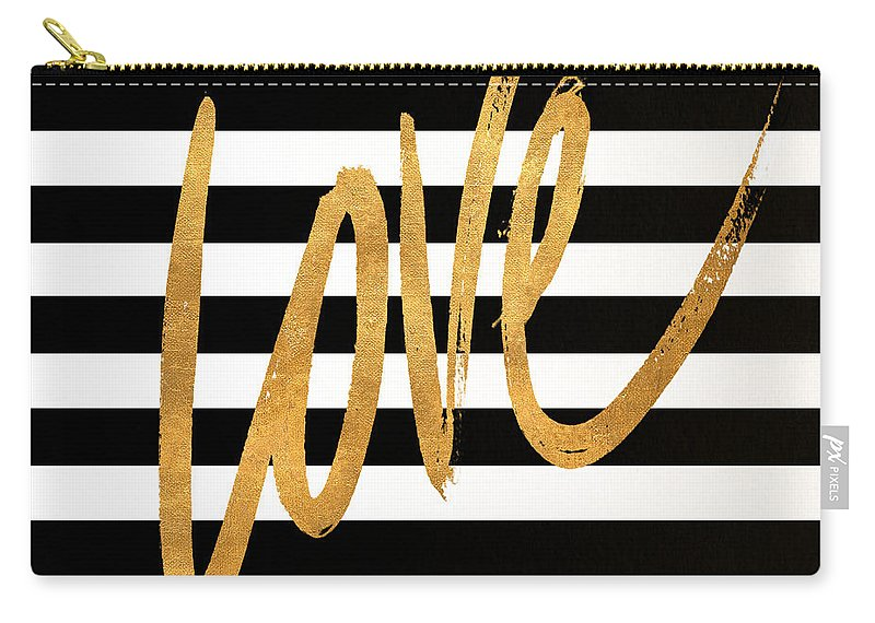 Valentines Carry-all Pouch featuring the digital art Valentines Stripes Iv by South Social Graphics