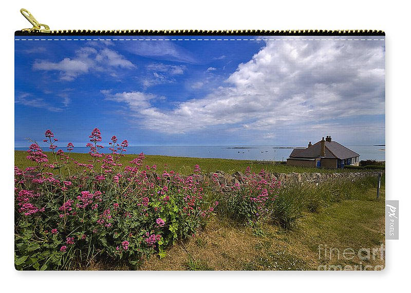 Travel Carry-all Pouch featuring the photograph Valerian By A Stone Wall On The Northumberland Coast by Louise Heusinkveld