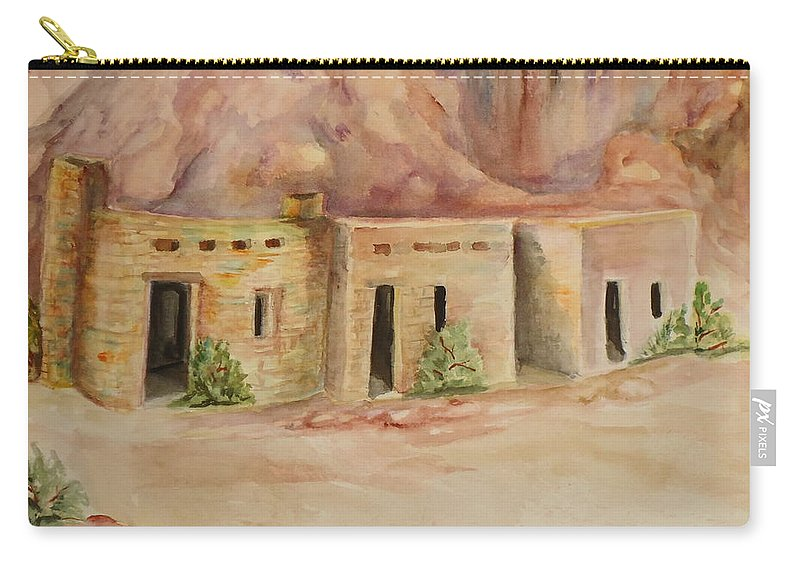 Oldest Man Made Structures In The Valley Of Fire Carry-all Pouch featuring the painting Valley Of Fire Cabins by Charme Curtin