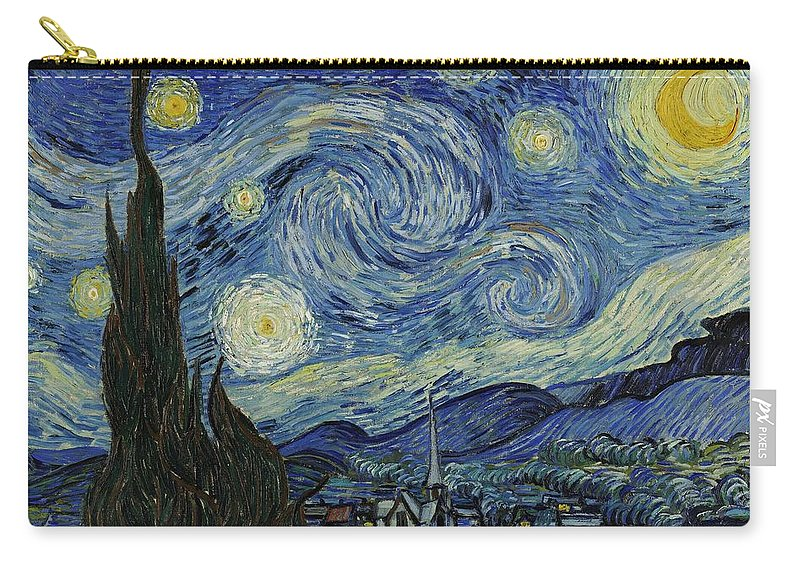 Van Gogh Carry-all Pouch featuring the painting Van Gogh The Starry Night by Movie Poster Prints