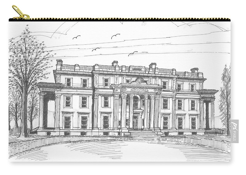 Hyde Park Carry-all Pouch featuring the drawing Vanderbilt Mansion by Richard Wambach