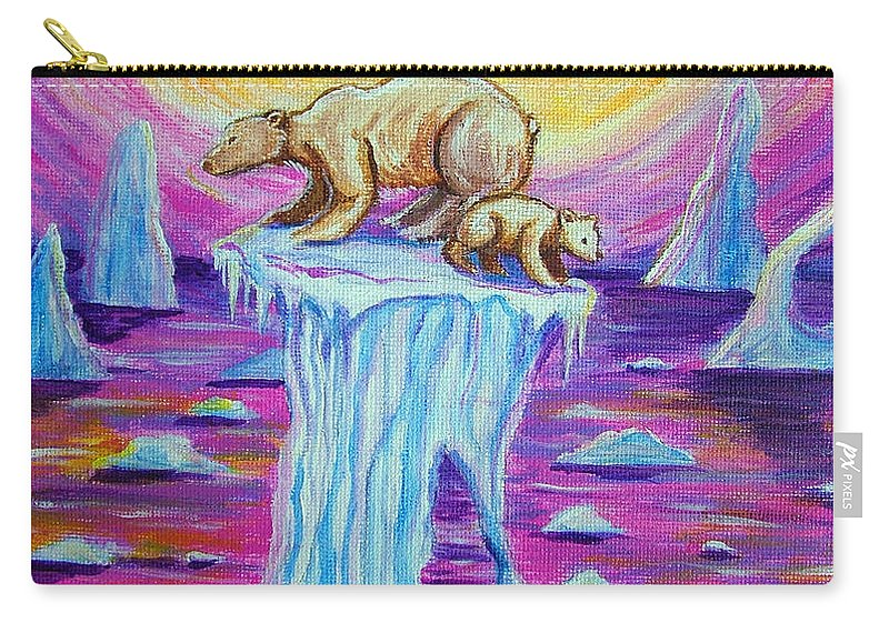 Polar Bear Carry-all Pouch featuring the painting Vanishing Future by Nick Gustafson