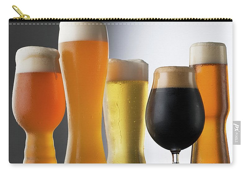 Five Objects Carry-all Pouch featuring the photograph Variety Of Beer Glasses by Jack Andersen