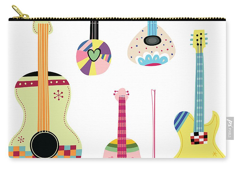 White Background Carry-all Pouch featuring the digital art Various Kinds Of Stringed Instruments by Eastnine Inc.