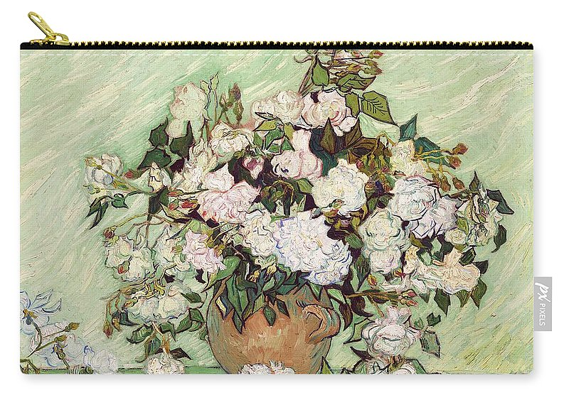 Vincent Van Gogh Carry-all Pouch featuring the painting Vase With Pink Roses by Vincent Van Gogh