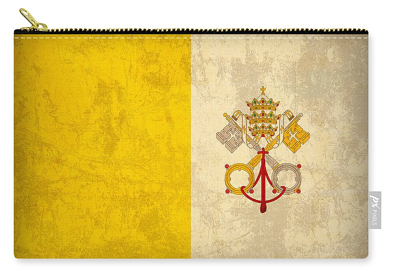 Vatican Carry-all Pouch featuring the mixed media Vatican City Flag Vintage Distressed Finish by Design Turnpike