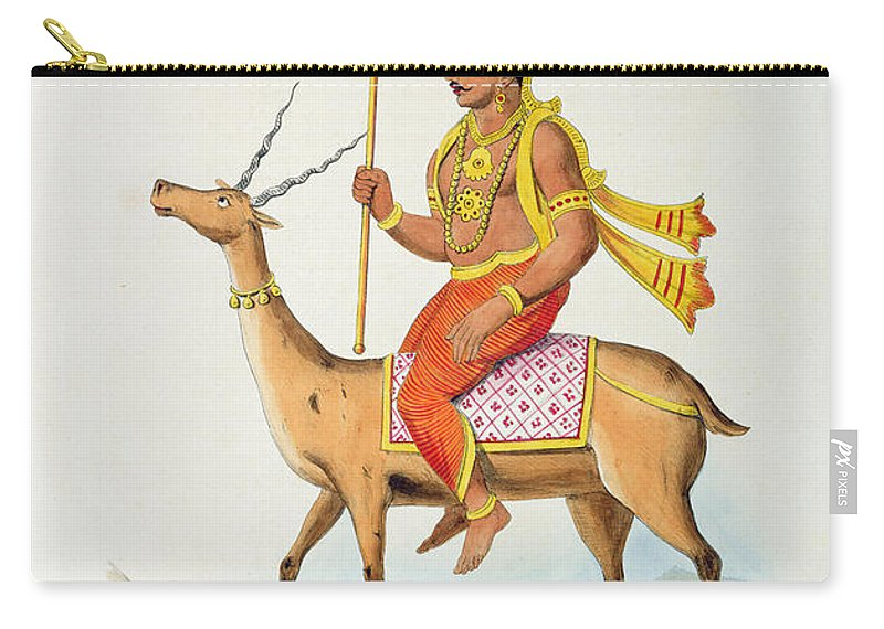 Hindu Carry-all Pouch featuring the drawing Vayu, Engraved By C. De Motte by French School