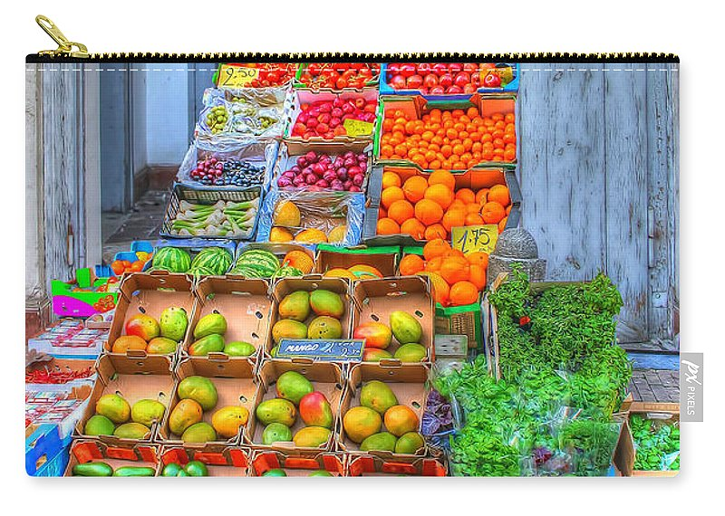 Vegetable Stand Carry-all Pouch featuring the photograph Vegetable And Fruit Stand by L Wright