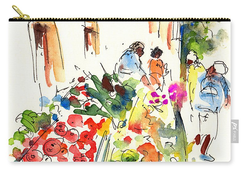 Travel Carry-all Pouch featuring the painting Velez Rubio Market 03 by Miki De Goodaboom