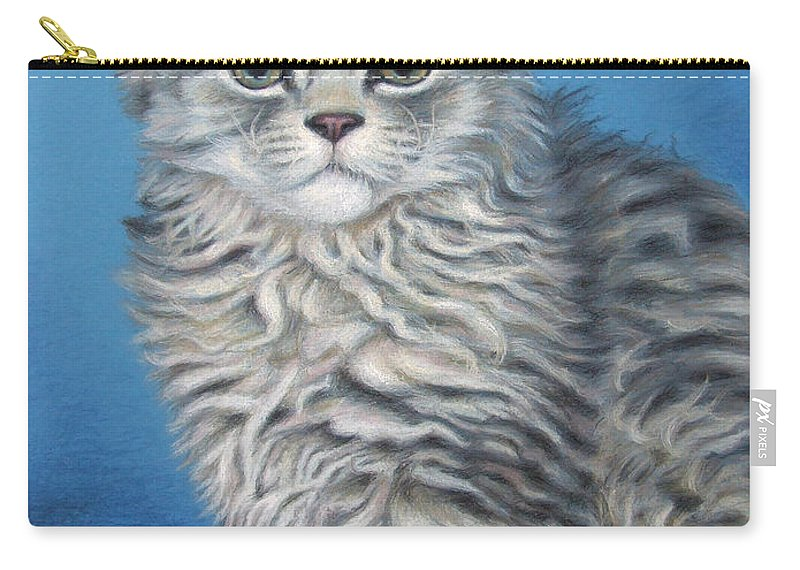 Cat Carry-all Pouch featuring the drawing Velvet Kitten by Nicole Zeug