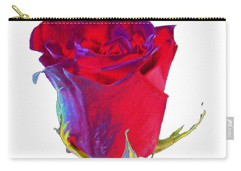 Velvet Carry-all Pouch featuring the digital art Velvet Rose Bud 2 by Carol Lynch