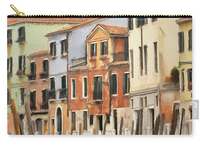 Venice Carry-all Pouch featuring the photograph Venetian Apartments Impasto by Sharon Foster