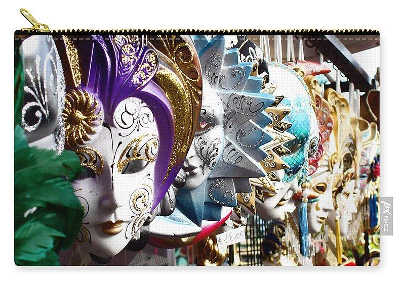 Venetian Masks Carry-all Pouch featuring the photograph Venetian Masks 1 by Ellen Henneke