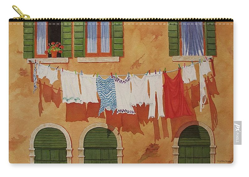 Venice Carry-all Pouch featuring the painting Venetian Washday by Mary Ellen Mueller Legault