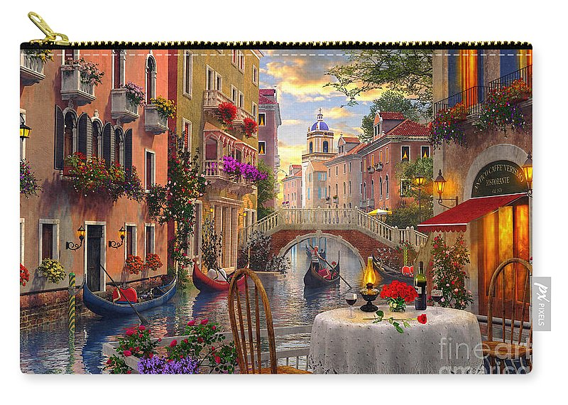 Dominic Davison Carry-all Pouch featuring the digital art Venice Al fresco by MGL Meiklejohn Graphics Licensing