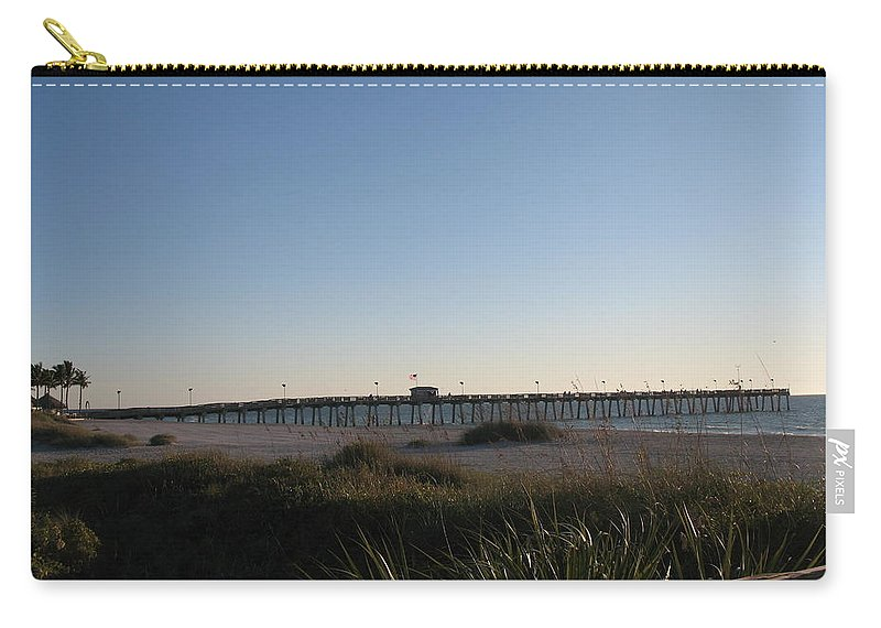 Pier Carry-all Pouch featuring the photograph Venice Beach Pier by Christiane Schulze Art And Photography