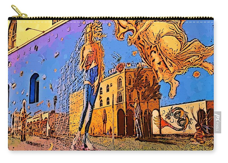 Canvas Print Digital Art Poster Carry-all Pouch featuring the photograph Venice Beach Posterized by John Malone
