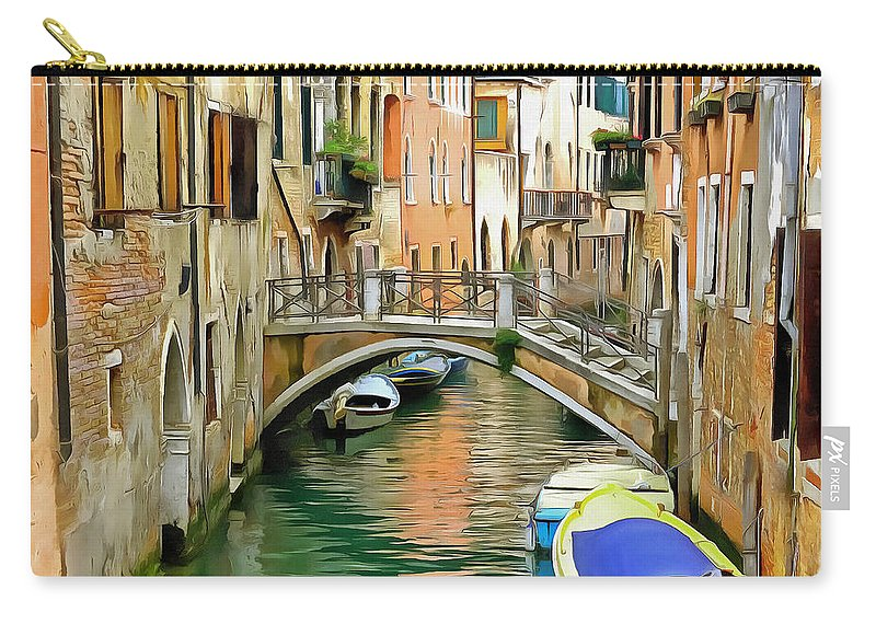 Venice Carry-all Pouch featuring the digital art Venice Bridge by Bishopston Fine Art