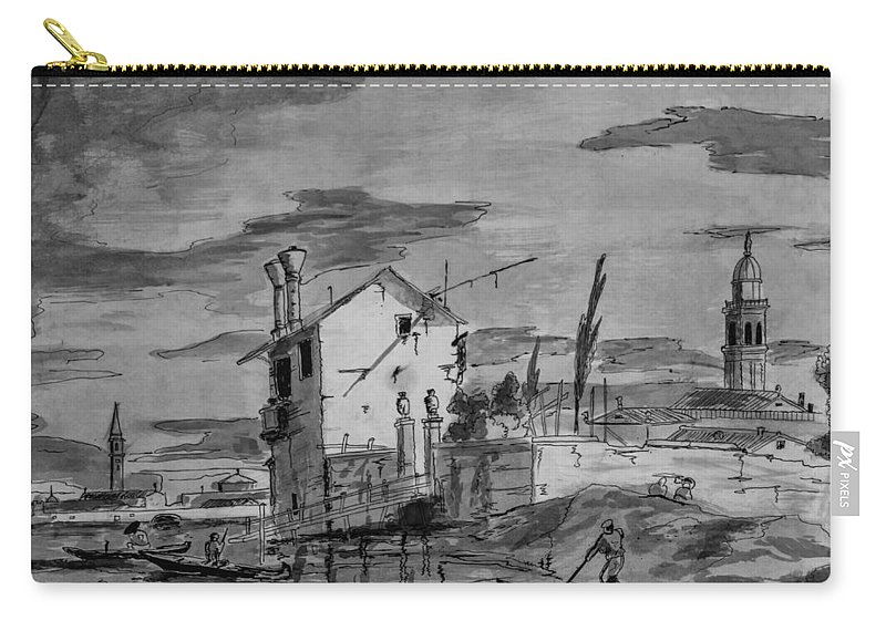 Drawing Carry-all Pouch featuring the drawing Venice by Chris Steele