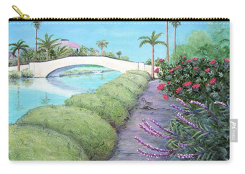 Canal Carry-all Pouch featuring the painting Venice California Canals by Jerome Stumphauzer