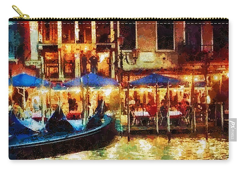 Venice Glow Carry-all Pouch featuring the painting Venice Glow by Mo T