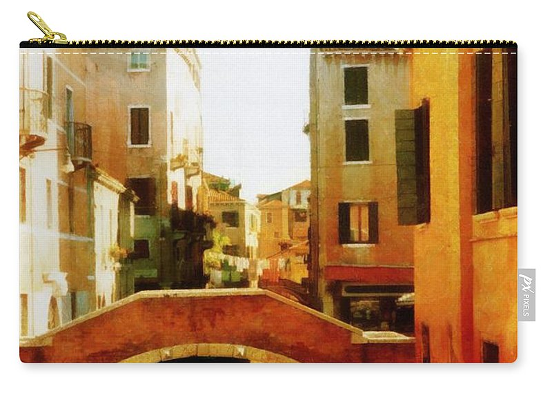 Venice Carry-all Pouch featuring the photograph Venice Italy Canal With Boats And Laundry by Michelle Calkins