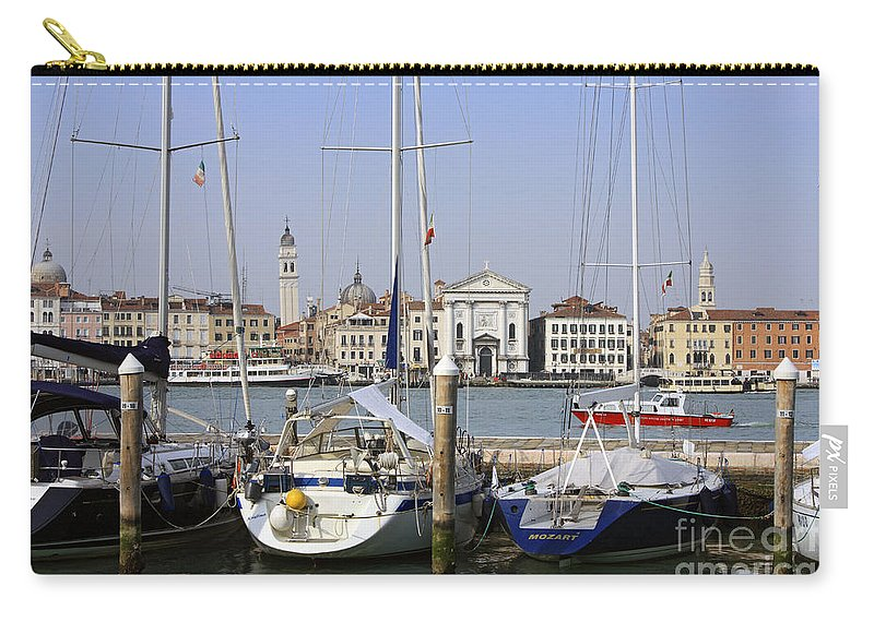 Grand Canal Venice Italy Gondola Venetian Gondolier Romantic City Italian Europe European Gondolas Boat Leaning Bell Tower Campanile Moored Boats Carry-all Pouch featuring the photograph Venice Italy by Julia Gavin