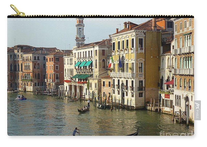 Venice Carry-all Pouch featuring the photograph Venice Sun by Adrienne Franklin