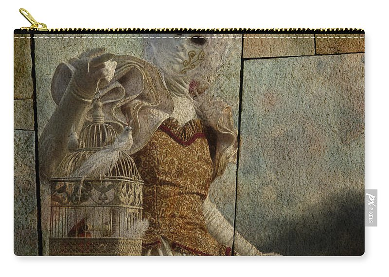 Carnival Carry-all Pouch featuring the photograph Venitian Carnival-bird In A Cage by Barbara Orenya