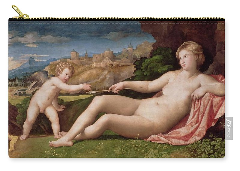Arrow Carry-all Pouch featuring the painting Venus And Cupid by Jacopo Palma