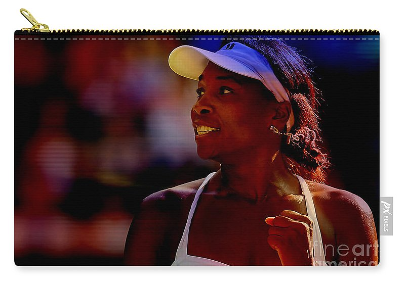 Venus Williams Photographs Carry-all Pouch featuring the mixed media Venus Williams by Marvin Blaine