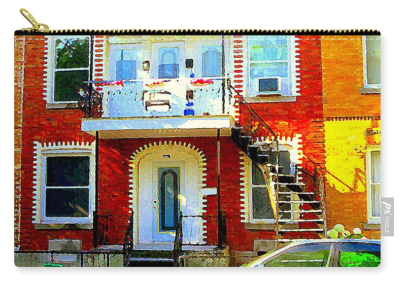 Montreal Carry-all Pouch featuring the painting Verdun City Street Triplex Apartment Outdoor Winding Stairs Montreal Scenes Primary Colors C Spandau by Carole Spandau