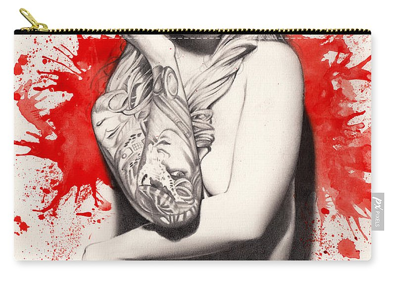 Pete Carry-all Pouch featuring the painting Vermillion by Pete Tapang